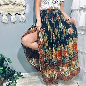 Vintage Floral Boho Maxi Skirt